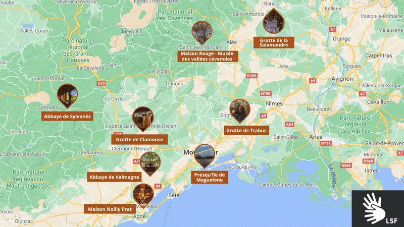 Carte localisation des sites d'exception Languedoc accessibles en LSF - 2021